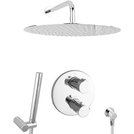 Duschsystem Regendusche Duschset unterputz 40cm Thermostat