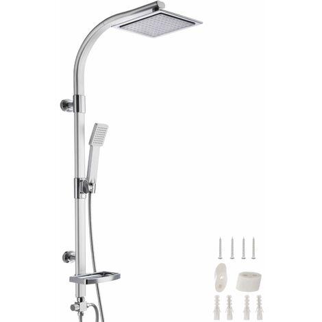 Duschsystem Regendusche mit Handbrause und Seifenablage - Duscharmatur, Regendusche, Duschpaneel - grau
