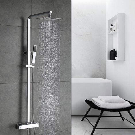Duschsystem Regendusche mit Thermostat Duschset Duschpaneel Duscharmatur inkl. Überkopfbrause Handbrause Regenbrause