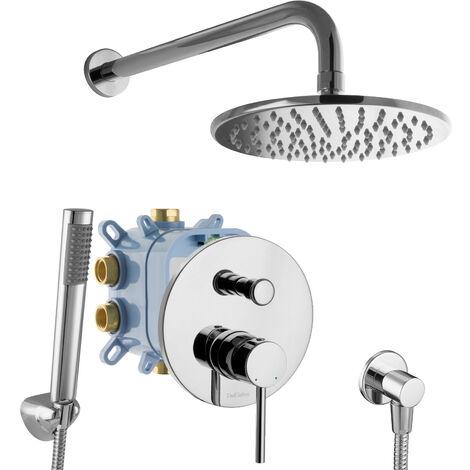 Duschsystem Rund Regendusche Unterputz 2-Wege Armatur Einhandmischer