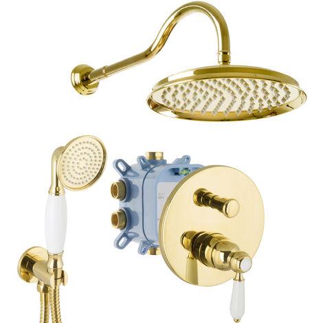 Duschsystem Unterputz Gold Einhandmischer Nostalgie Retro Landhausstil Dusch-Set 25cm