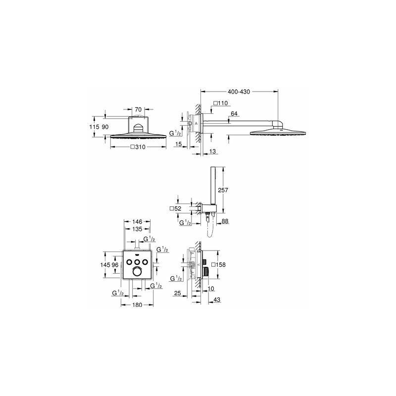 Duschsystem Unterputz Grohe SmartControl mit Rainshower 310 SmartActive  Cube - 34712000