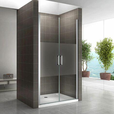 Duschtür 68-140 cm, Duschabtrennung aus 6 mm durchsichtigem ESG Sicherheitsglas mit Nanobeschichtung und Edelstahlgriffe, Breite:
