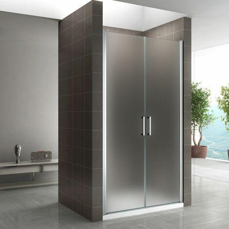 Duschtür 68-140 cm, Duschabtrennung aus 6 mm satiniertem ESG Sicherheitsglas mit Nanobeschichtung und Edelstahlgriffe, Breite: