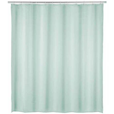 Duschvorhang Badewannenvorhang Ringe Textil Anti Schimmel 180X200cm Uni Hellgrün