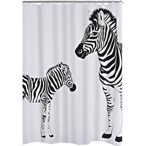 Duschvorhang Textil Zebra schwarz 180x200 cm