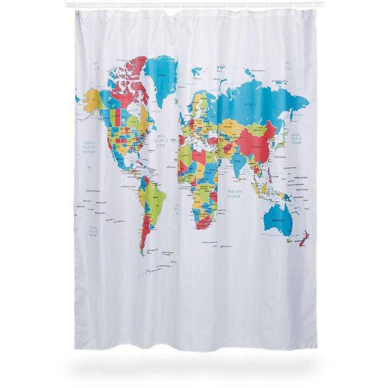 Textil Duschvorhang wasserabweisend 180 x 200 cm mit 12 Ringen grau weiß TOP