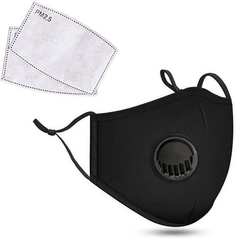 Dust Mask with Respirator & 2 Filter Resuable Soft & Breathable Cotton Safety Masks with Breathing Valve & Activated Carbon Mask, Black