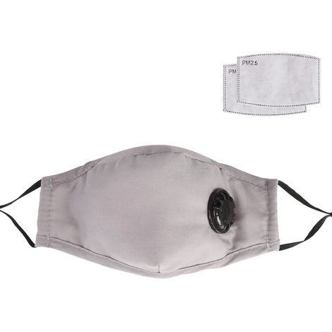 Dust Mask with Respirator & 2 Filter Resuable Soft & Breathable Cotton Safety Masks with Breathing Valve & Activated Carbon Mask, Gray