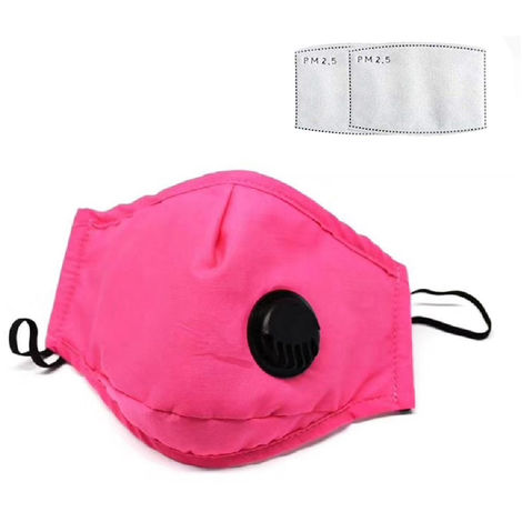 Dust Mask with Respirator & 2 Filter Resuable Soft & Breathable Cotton Safety Masks with Breathing Valve & Activated Carbon Mask, Pink