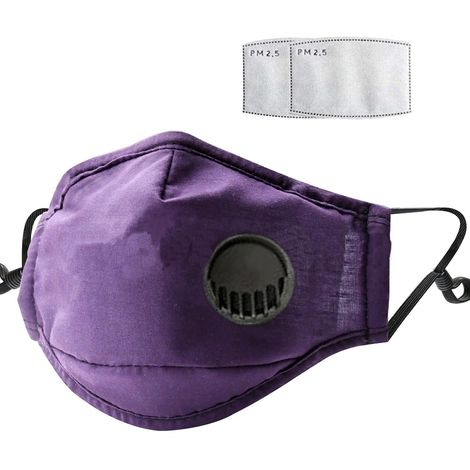 Dust Mask with Respirator & 2 Filter Resuable Soft & Breathable Cotton Safety Masks with Breathing Valve & Activated Carbon Mask, Purple