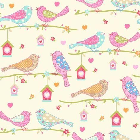 Dutch Birds Floral Hearts Wallpaper Cream Pink Chilren's Girls Textured Debona