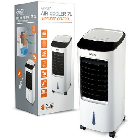 """main image of """"DUTCH ORIGINALS Refroidisseur d'air mobile ventilateur 65 W, Refroidisseur d'air économe 7 L 3 vitesses, Rafraîchisseur d'air avec télécommande, Mode oscillation - Blanc"""""""