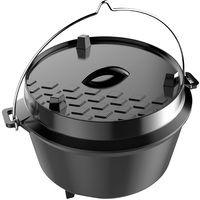 Dutch Oven Cast Iron Cooking Pot Large 12 Litre Capacity