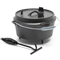 Dutch Oven Cast Iron Kettle round Ø 25,5cm x H 13cm Cooking Equipment for Camping Outdoor