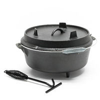 Dutch Oven Cast Iron Kettle round Ø 30cm x H 16,5cm Cooking Equipment for Camping Outdoor