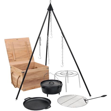 Dutch Oven Cast Iron Set Wooden Box Grate Tripod Plancha Pot Stand