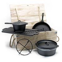Dutch Oven Set Gusseisen 6-tlg. Kochzubehör für Camping Outdoor