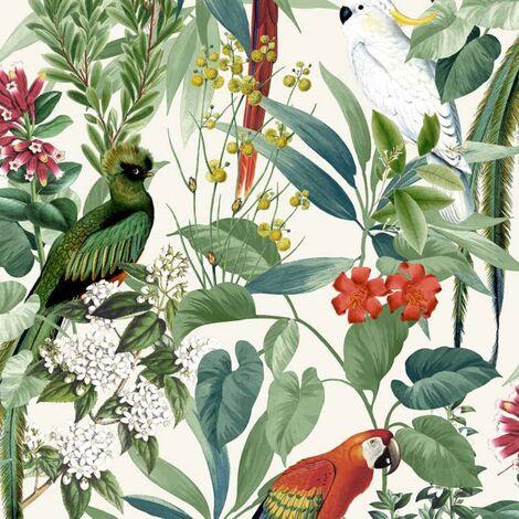 "main image of ""DUTCH WALLCOVERINGS Carta da Parati Uccelli Tropicali Bianco e Verde - Bianco"""
