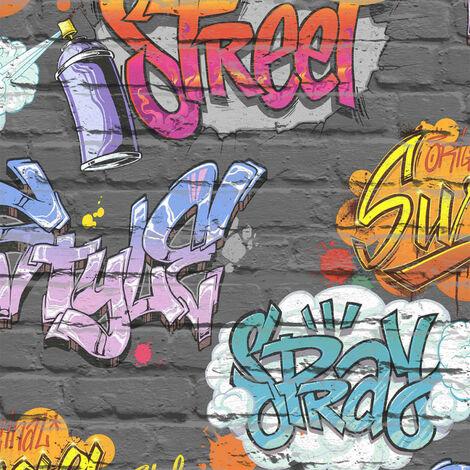 DUTCH WALLCOVERINGS Papel de pared diseño graffiti multicolor L179-05