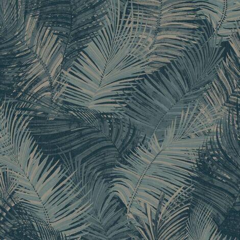 DUTCH WALLCOVERINGS Papel de pared Palm azul petróleo - Azul