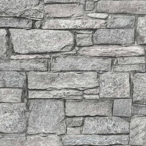 DUTCH WALLCOVERINGS Papel pintado ladrillos antiguos gris - Gris
