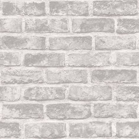 DUTCH WALLCOVERINGS Papel pintado ladrillos gris