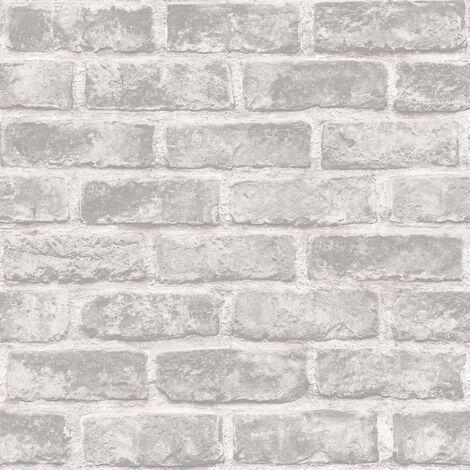 DUTCH WALLCOVERINGS Papel pintado ladrillos gris - Gris