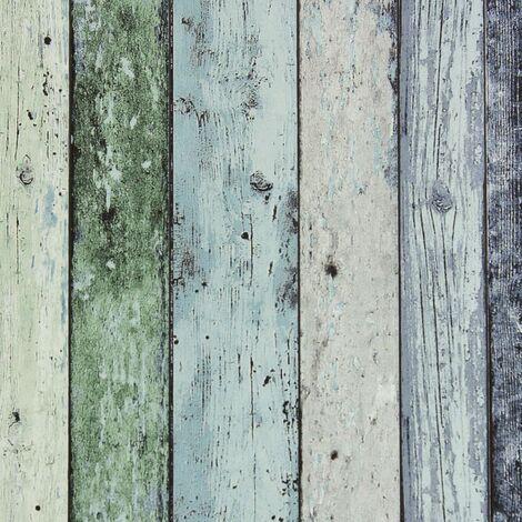 DUTCH WALLCOVERINGS Papel pintado madera desgastada verde