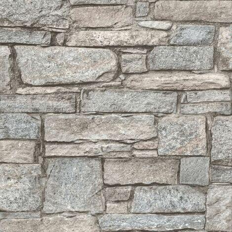 DUTCH WALLCOVERINGS Papier peint Briques anciennes Beige