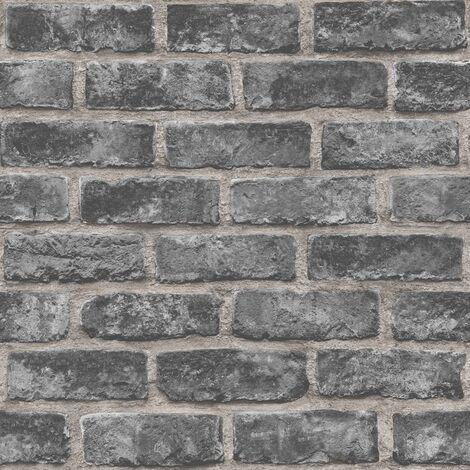 DUTCH WALLCOVERINGS Papier peint Briques Noir