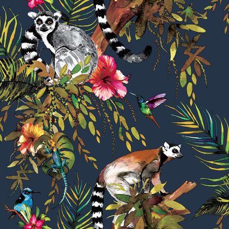 DUTCH WALLCOVERINGS Tapete Lemur Benzin Blau
