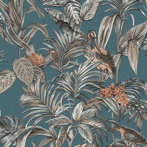 DUTCH WALLCOVERINGS Wallpaper Bird-of-Paradise Blue