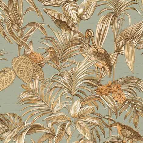 DUTCH WALLCOVERINGS Wallpaper Bird-of-Paradise Teal Blue