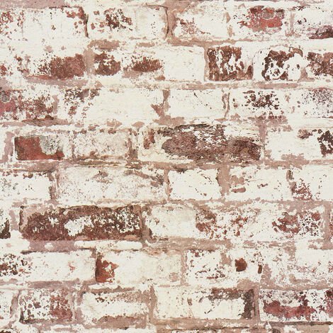 DUTCH WALLCOVERINGS Wallpaper Brick Red and White
