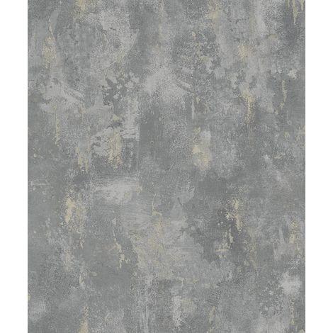 Concrete Industrial Stone Distressed Wallpaper Metallic Grey Silver Paste Wall