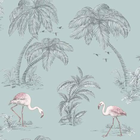 DUTCH WALLCOVERINGS Wallpaper Flamingo Green