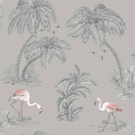 DUTCH WALLCOVERINGS Wallpaper Flamingo Grey
