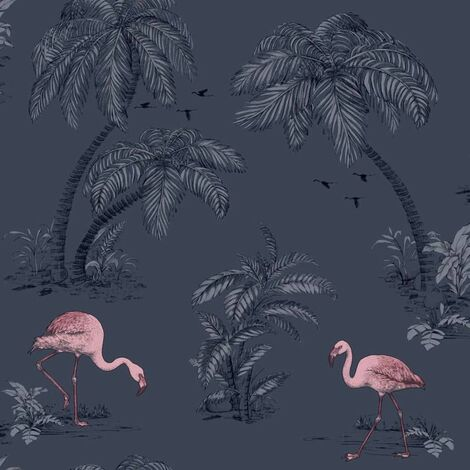 DUTCH WALLCOVERINGS Wallpaper Flamingo Petrol Blue