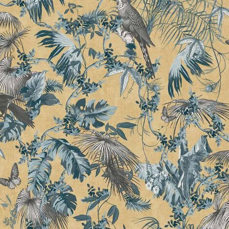 DUTCH WALLCOVERINGS Wallpaper Leaves and Birds Blue and Gold
