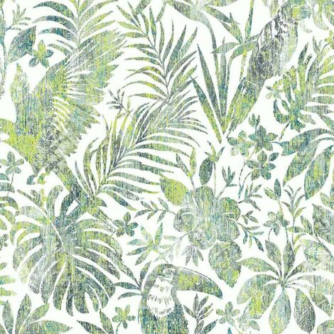 DUTCH WALLCOVERINGS Wallpaper Leaves and Toucan Green