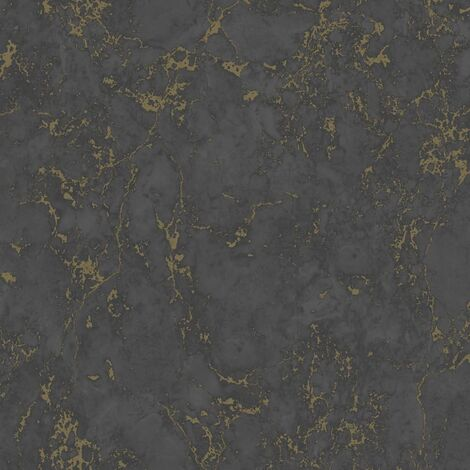 DUTCH WALLCOVERINGS Wallpaper Marble Black and Gold