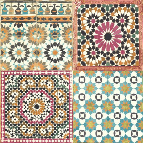 DUTCH WALLCOVERINGS Wallpaper Moroccan Tiles Multicolour