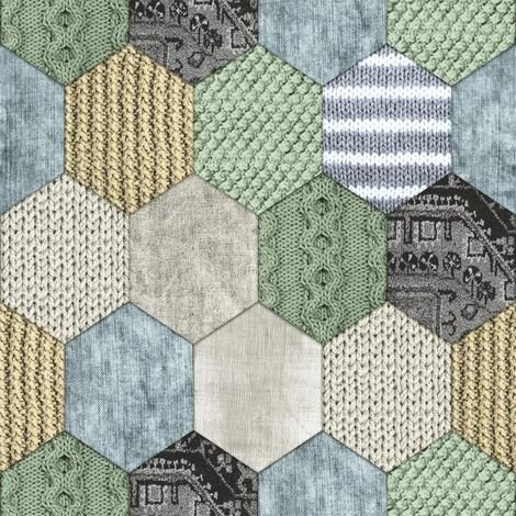 DUTCH WALLCOVERINGS Wallpaper Patchwork Green and Blue 7360-3