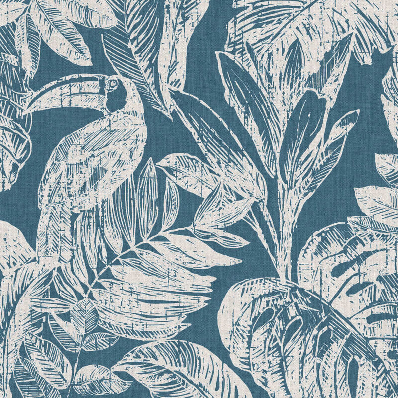 Image of DUTCH WALLCOVERINGS Wallpaper Rebecca Petrol Blue and Beige - Multicolour