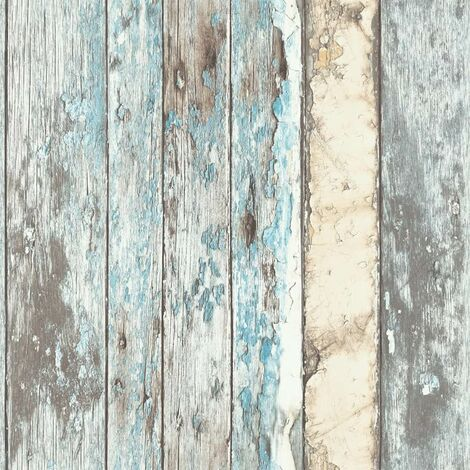 DUTCH WALLCOVERINGS Wallpaper Scrapwood Blue PE10012