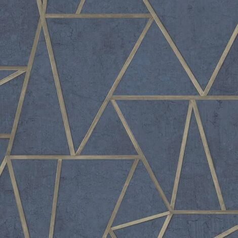 DUTCH WALLCOVERINGS Wallpaper Triangles Petrol Blue and Gold