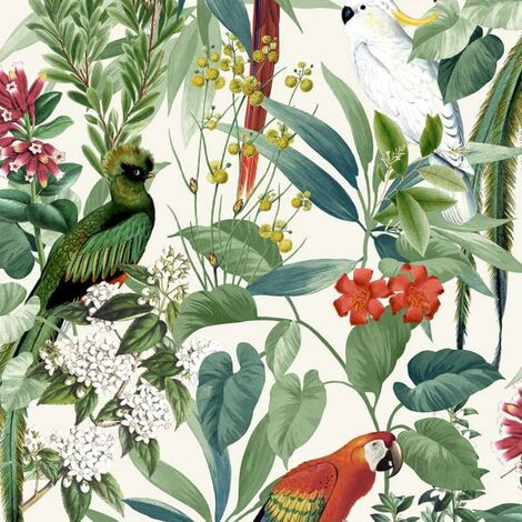DUTCH WALLCOVERINGS Wallpaper Tropical Birds White and Green