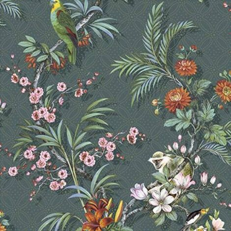DUTCH WALLCOVERINGS Wallpaper Tropical Blue-green