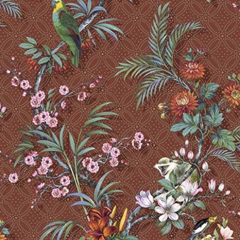 Image of DUTCH WALLCOVERINGS Wallpaper Tropical Red-brown - Multicolour